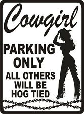 "Cowgirl Parking Novelty Sign Western Farm Rodeo Horse 7""X10"" Sign Bubba's Tees"