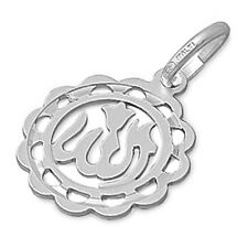 SOLID Holly Allah Bless Charm  .925 Sterling Silver Pendant