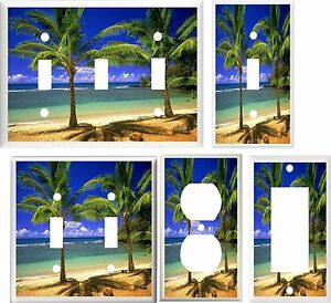 TROPICAL PALM TREE IN PARADISE  #3  IMAGE  LIGHT SWITCH COVER PLATE U PICK SIZE