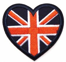 UK Flag Patch I love GB Heart Embroidered Iron Sew On souvenir England Britain