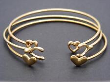 $12 Orion Dainty 3 Piece Open Cuff  Bracelet Set Hearts Wishbone Goldtone Metal