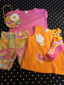 Vintage Gymboree top tee Sunshine Daydreams shorts socks 3 purse hair elastic NW
