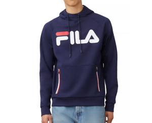 FILA Hoodie Mens Medium Authentic Ezra Tech Soft Jersey Fleece Linear Logo Blue