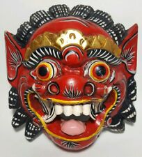 Vintage Balinese Dragon Barong Wood Hand Carved and Painted Mask Demon Decor VTG