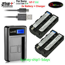 2x NP-F550 Battery + Charger For Sony NP-F530 NP-F330 NP-F570 NP-F730 NP-F750 AU