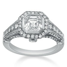 ASSCHER CUT BEZEL SET ANTIQUE STYLE DIAMOND ENGAGEMENT RING A37