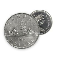 1980 Canada $1 One Dollar Canadian Coin Voyageur Queen Elizabeth II (Circulated)