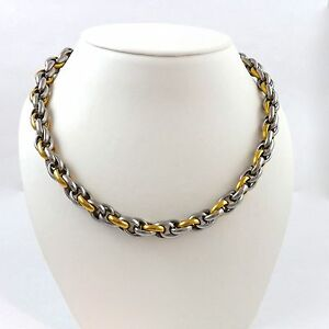 316L Stainless Steel and Gold Triple Cable Link Chain Necklace 22in