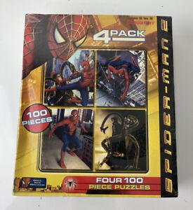 NEW SEALED Pressman Marvel Spiderman 2 4-pack 100 piece jigsaw puzzles