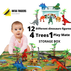 KIDS Dinosaurs GIFT Set - 12 Deluxe Figures 4 Trees Playmat Storage Toy Box
