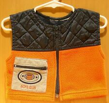 Small, Sleeveless, Vest, Orange and Quilted Blue Top, Zippered Front