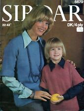 """~ Vintage 1970's Knitting Pattern For Lady & Girl's Tunic Top ~ Sizes 22"""" ~ 42"""""""