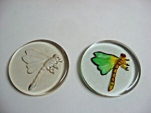 LOT 2 GLASS paperweight GREEN + yellow DRAGONFLY hand decorated