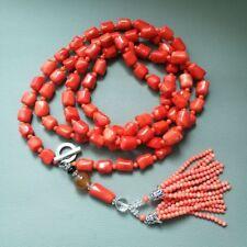 "M011801 65"" Orange Coral Nugget Tassel Long Necklace"