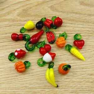 20Pcs Fruit Vegetable Theme Handmade Lampwork Glass Dangle Pendants Charm