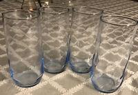 VINTAGE Libbey BLUE Glass SWIRL 16oz. Tumblers Set of 4