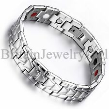 """Father's Day Gift 8.26"""" Stainless Steel Men's Magnetic Bracelet Link Bangle*13MM"""