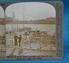 WW1 Stereoview Flotilla Of British Motor Boats Guarding Rhine Realistic Travels