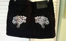 Ed Hardy by Christian Audigier Denim Mini Jean Skirt Embroidered  Cougar Size 28