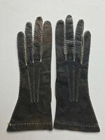Paire de gants en cuir fin, cousu main vers 1900/1930 NEUF DE STOCK T:  6.3/4