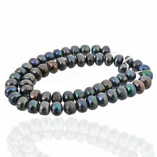 "Genuine Natural FW Cultured black Pearl 6-7mm Abacus bead 15""AAA+"