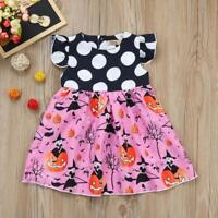 Toddler Kids Baby Girls Halloween Pumpkin Cartoon Princess Dress Outfits Clothes