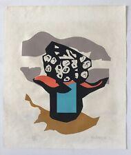 Domingo Garcia, Signed Flowers Vase Vintage Serigraph 1971, Puerto Rico Art