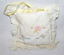 """Vintage House of Hatten Wind Up Music Box Nursery Lamb Pillow 8"""" Lace Sheep HTF"""
