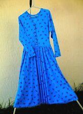 Vtg 80S Liz Claiborne Xs S Blue Low Waist Flare Floral Soft Dress Women Korean
