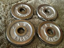 """4x1.25KG 2.75lbs(1"""" Standard Stainless Steel CHROME) Weight Plates Plate Barbell"""