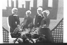 (1) B&W Press Photo Negative Formal Dressed Ladies Men Tuxedos Flowers T862