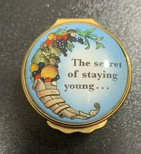 """Halcyon Days Enamel Trinket Box """"The Secret Of Staying Young.�- Used"""