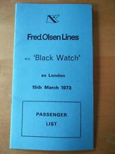 Vintage Fred Olsen Cruise Lines Passenger List Black Watch 1985 Perfect Cond