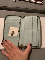 NWT Henri Bendel W57th St Continental Zip Gorgeous MUST SEE AMAZING Seafoam Blue
