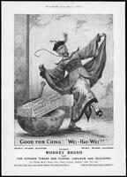 1898  Antique ADVERTISING Print - MONKEY BRAND Soap Good For China Wei Hai (274)