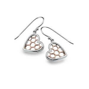Homeycomb Heart Earrings Sterling Silver 925 Hallmarked Rose Gold Detail Drops