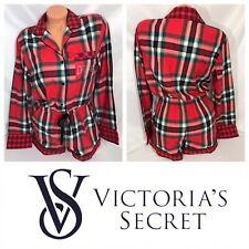 Victoria Secret Flannel Red Plaid Sleep Romper Size Medium