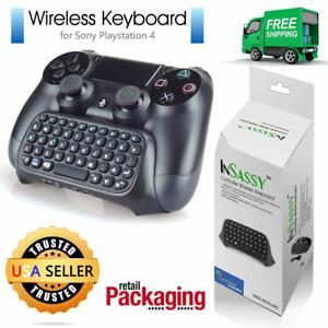 For PS4 Wireless Mini Keyboard 2.4G Bluetooth KeyPad Chatpad Gaming Black