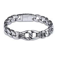 "11mm New Fashion Men's Jewelry Stainless Steel Silver Chain Bracelet 8.66"""