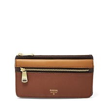 Fossil Original SL7140249 Multi Brown Preston Flap Clutch Leather Women's Wallet