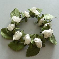 12x anneau fleurs de BOULE COURONNE DÉCORATION TABLE mariage baptême Crème 7 cm