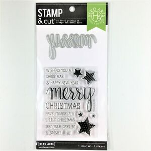 Hero Arts Stamp & Cut Merry Clear Stamp Die Set Christmas Holiday Phrases