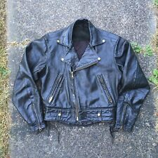 Vintage Langlitz Leather Motorcycle Jacket 70s 80s Small Columbia Distressed