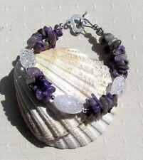 """Purple Charoite & Crackled Clear Quartz Crystal Gemstone Bracelet """"Violet Dew"""""""