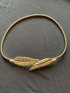Gold Belt With A Leaf Buckle. Women's Gold Leaves Belt. Stretch Fashion Belt