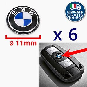 LOGHI CHIAVE BMW STEMMI ADESIVI PULSANTE TELECOMANDO BMW 11mm x 6 PEZZI