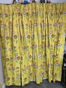 2 Vintage Mod Yellow Floral Curtains Pinch Pleat Drapes Panels Heavy Lined