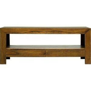 Wooden TV Unit with Drawers and Storage Shelves made from Sheesham Wood 2 Sizes