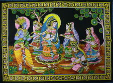 Indio Advaita Krishna Holi Rass Con Lentejuelas Colgante De Pared * Comercio Justo * Grandes