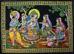 Indian Radha Krishna Holi Rass Sequined Wall Hanging Fair Trade 110 x 80cm